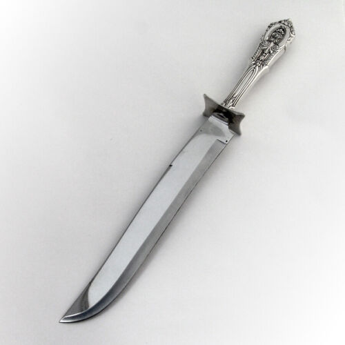 Rose Point Large Roast Carving Knife Wallace Sterling Silver 1934