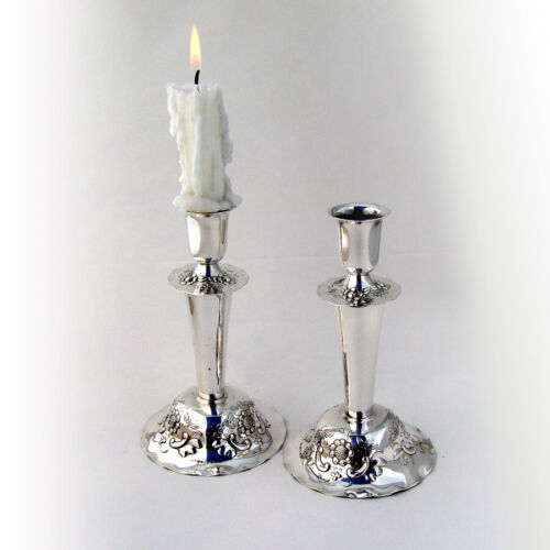 Swedish Floral Candlesticks Pair Sterling Silver 1950 Weighted