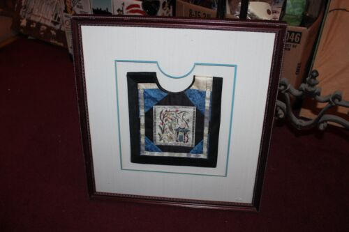 Framed Chinese Embroidery Shirt Small Size Child Clothing Flowers Antique?