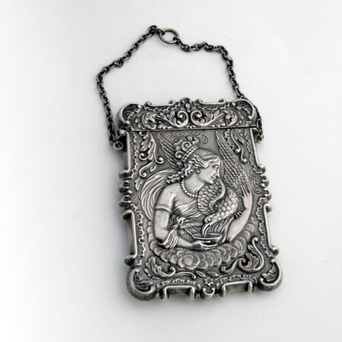 Calling Card Case Cathedral Goddess Raven Coin Silver 1850