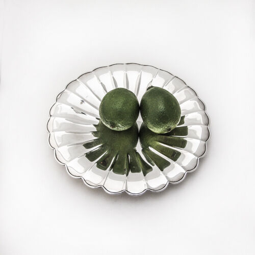 Japanese Lobed Round Footed Tray Uyeda 950 Sterling Silver