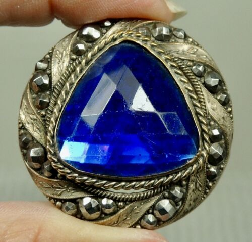 JEWELED  BRASS BUTTON ~ W/ FACETED COBALT BLUE GLASS STONE GAY 90's METAL