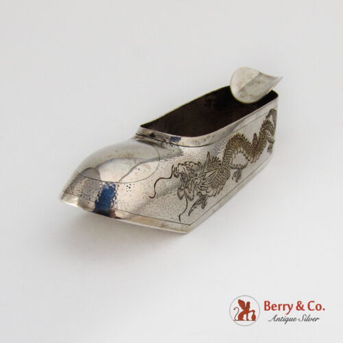 Shoe Form Ash Tray Engraved Dragon Chinese Export Silver 1930