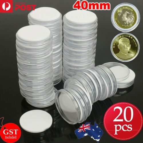 20X 40mm Plastic Coin Display Case EVA Inserts Capsules Holder Storage Box Clear