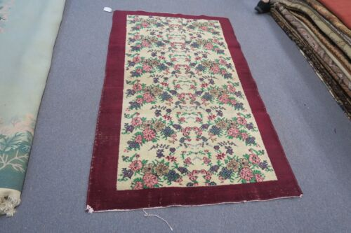 Antique Decorative India  Floral Hand Knotted Wool Oriental Rug Agra 3'10 x 6'8