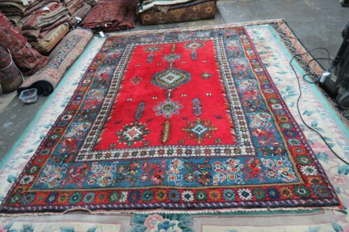 Vintage Rabat Moroccan Morocco Artisant Hand-Knotted Wool Rug 6' x 8'6 Red