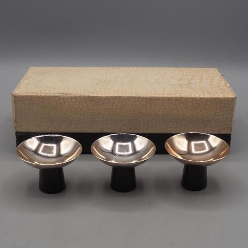Vintage Set of 3 Silverplate Miniature Bowls Plastic Base made in Japan