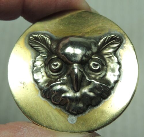 """BRASS & PEWTER PICTURE BUTTON ~ OWL HEAD    METAL 1 1/2"""""""