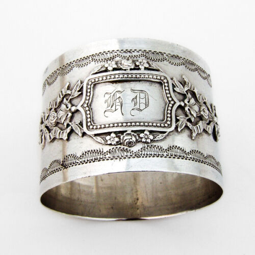 French Baroque Style Napkin Ring Applied Cartouche 950 Sterling Silver HD