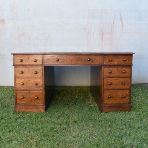 Antique English Oak Partners Desk, Highest Quality, Purchased Christie's London