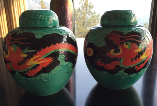 Stunning Pair of Kinkozan Pottery Dragon Covered Ginger Jars 1920s Hand Decorate