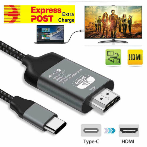 4K Type C To HDMI Cable Adapter For Microsoft Surface Book 2/Pro 7/Go/Laptop 2