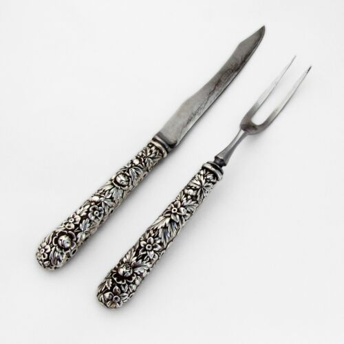 Repousse 2 Piece Small Carving Set Kirk Son Sterling Silver 1900