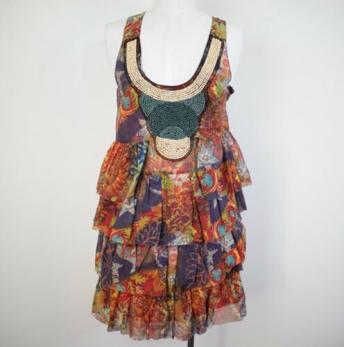 Desigual Beaded Floral Print Sleeveless Ruffled Dress Size 38 Preowned