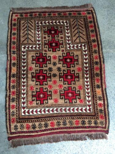 COLLECTORS' PIECE Antique Very thick and soft Camel Wool Nomadic Prayer Carpet