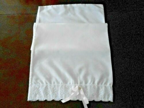 ANTIQUE WHITE COTTON PILLOWCASE WITH LACE AND PINK RIBBON, CIRCA1950