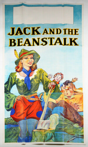 Antique 3 Sheet Art Deco Jack & The Beanstalk Theater Poster Pin-Up Stone Litho