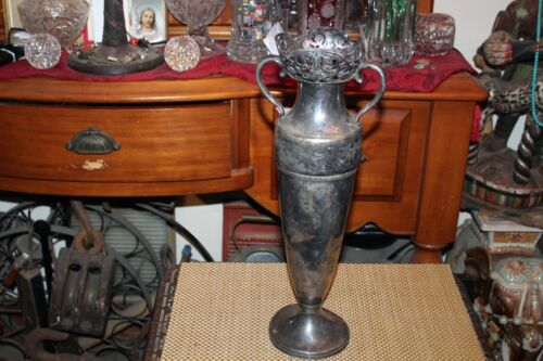 Antique Art Deco Wallace Brothers Silver Metal Chalice Urn Vase Scroll Designs