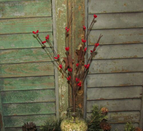 """Primitive 12"""" Floral Red Pip with Stars Bush Artificial Plants Fake Foliage Pick"""