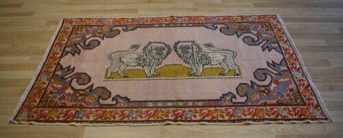 "Vintage ""Lion"" Handmade Turkish Rug  5 Ft x 7 Ft Free Shipping"