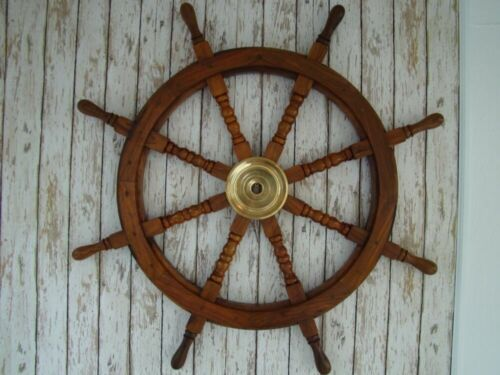 """36"""" Wood Ship Wheel ~ Large Boat Steering ~ Wooden Nautical Captains Decor Gift"""