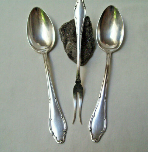 Wellner Germany Patent 90 Silverplate WLN4 (Mozart) 3 Lot SERVING SPOONS & FORK