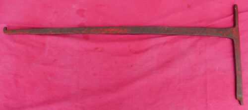 Smaller Size Antique 19th C Wrought Iron Fireplace Crane - Red Paint Remnants