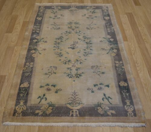 Modern Vintage Distressed Handmade Fine Turkish Rug 4 Ft X 7 Ft  Free Shipping