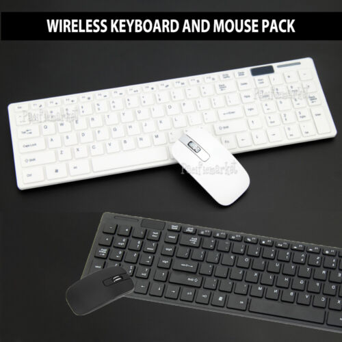 Cordless Optical Mouse and Wireless Keyboard for PC Laptop Win7/8/10 Slim