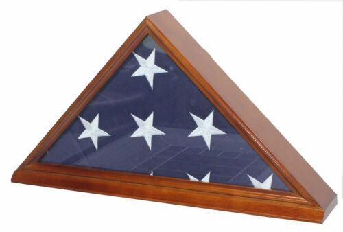 Burial Memorial Flag Display Case for 5'X9.5' Folded Casket Draped Flag-HardwoodOther Militaria - 135