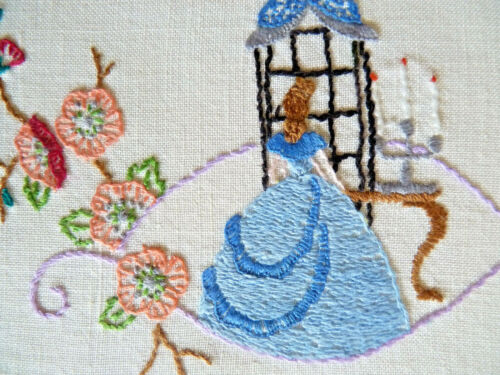 CRINOLINE LADY with CANDELABRA Vintage Hand Embroidered Table Centre Doily