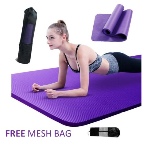 NBR Yoga Mat 10 15 20 Thick  Pad Nonslip Exercise Fitness Pilate Gym Mesh Bag <br/> √ FREE MESH BAG √10 20 30 mm √ BEST QUALITY