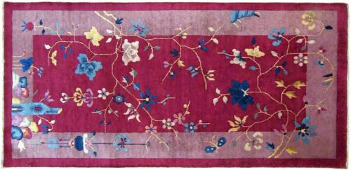 Antique Chinese Art Deco Oriental Rug, in Small Runner Size, with FREE SHIPPING!
