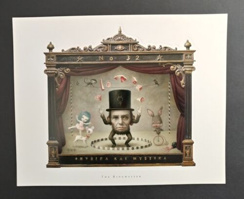 Mark Ryden Lithograph Print Set The Ringmaster Embossed Boarder