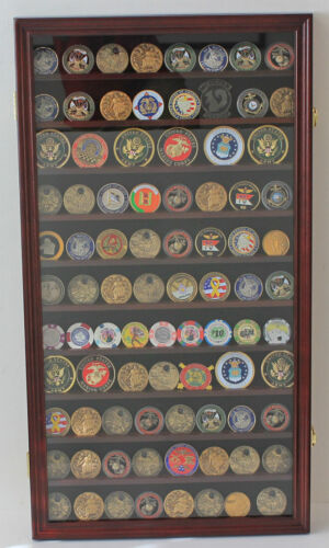 Large Challenge Coin Medal Pin Display Case Cabinet, Real Glass, COIN2-MAOther Militaria - 135