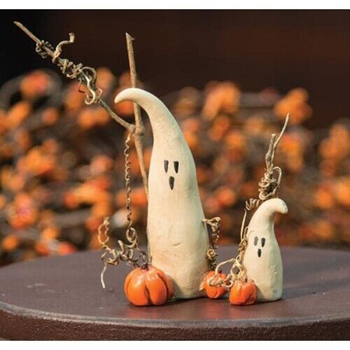 "Primitive Halloween Ghosts Set of 2  Collectible Resin 1.5"" and 3.5"" Tall Ghost"