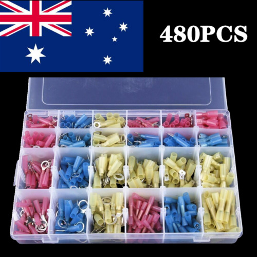 480PCS Heat Shrink Waterproof Butt Wire Connector Insulated Crimp Terminals Kit