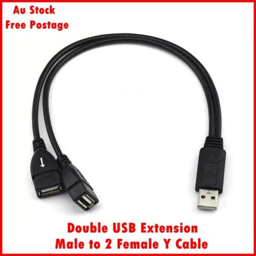 Double USB Extension Male To Female Y Cable Cord Power Adapter Splitter