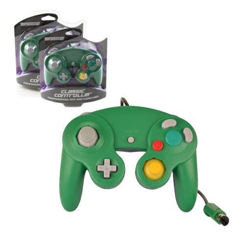 2 X Nintendo GameCube GREEN-BLUE Rumble Controller Teknogame (Wii Wired Gamepad)