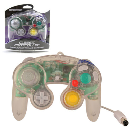 Nintendo GameCube CLEAR Rumble Controller Teknogame (Wii Wired Gamepad)
