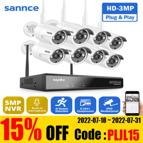 SANNCE CCTV Security System Home Wireless Camera WIFI 1080P Long Range Outdoor