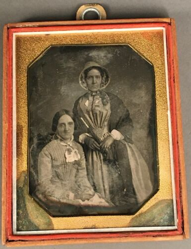 1/4 PLATE DAGUERREOTYPE OF SISTERS, VERY NICE IMAGE WITH CONDITION ISSUES