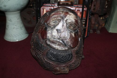 LARGE Antique Chinese Wood Carving Seal Man Face Detailed Asian Carving