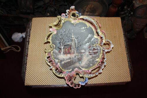 Antique Victorian Porcelain Pottery 3D Wall Plaque Church Snow Scene Marked 1411