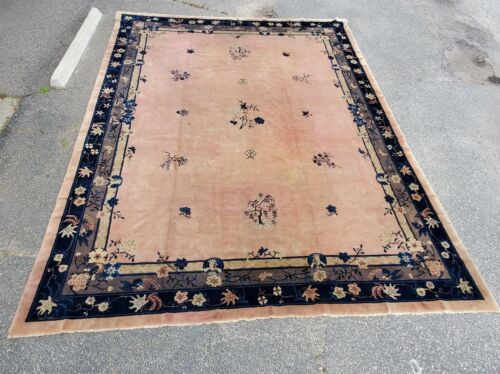 """Large Antique Chinese Art Deco Wool Rug - 15'6"""" x 12'1"""""""