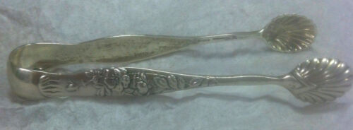 """Tiffany Sterling Silver Vine Pattern Sugar Tongs 4"""" ca1872   Aesthitic Movement"""