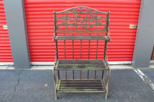 Antique Style Bakers Rack Garden Plant Stand Rack Leaf Designs All Metal Heavy
