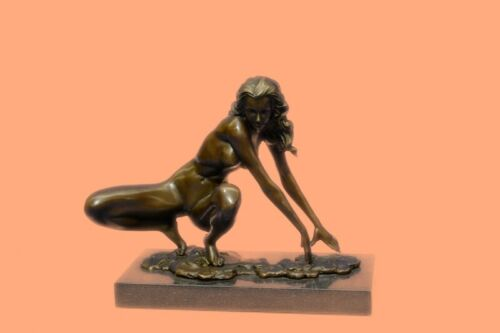 SIGNED DECO BRONZE SCULPTURE CUBISM NUDE GIRL ABSTRACT MODERN ART STATUE DECOR