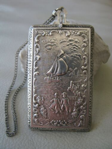 Antique Silver T Holland Dutch Windmill Couple Boat Lake Scene Dance Compact #3
