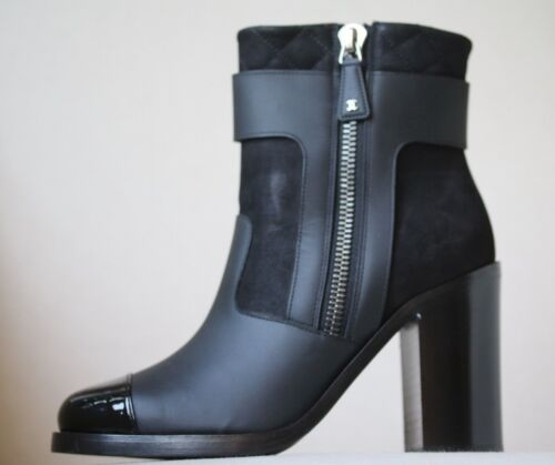 CHANEL BLACK LEATHER ANKLE BOOTS EU 38 UK 5 US 8